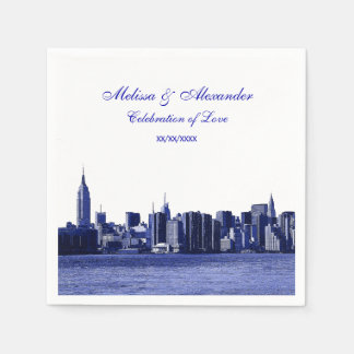 Blue Etched Look NYC Skyline Silhouette, ESB #1 Disposable Napkin