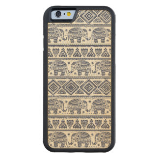 Blue Ethnic Elephant Pattern Carved Maple iPhone 6 Bumper Case