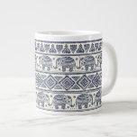 Blue Ethnic Elephant Pattern Large Coffee Mug