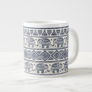 Blue Ethnic Elephant Pattern Large Coffee Mug