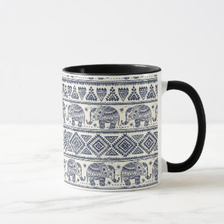 Blue Ethnic Elephant Pattern Mug