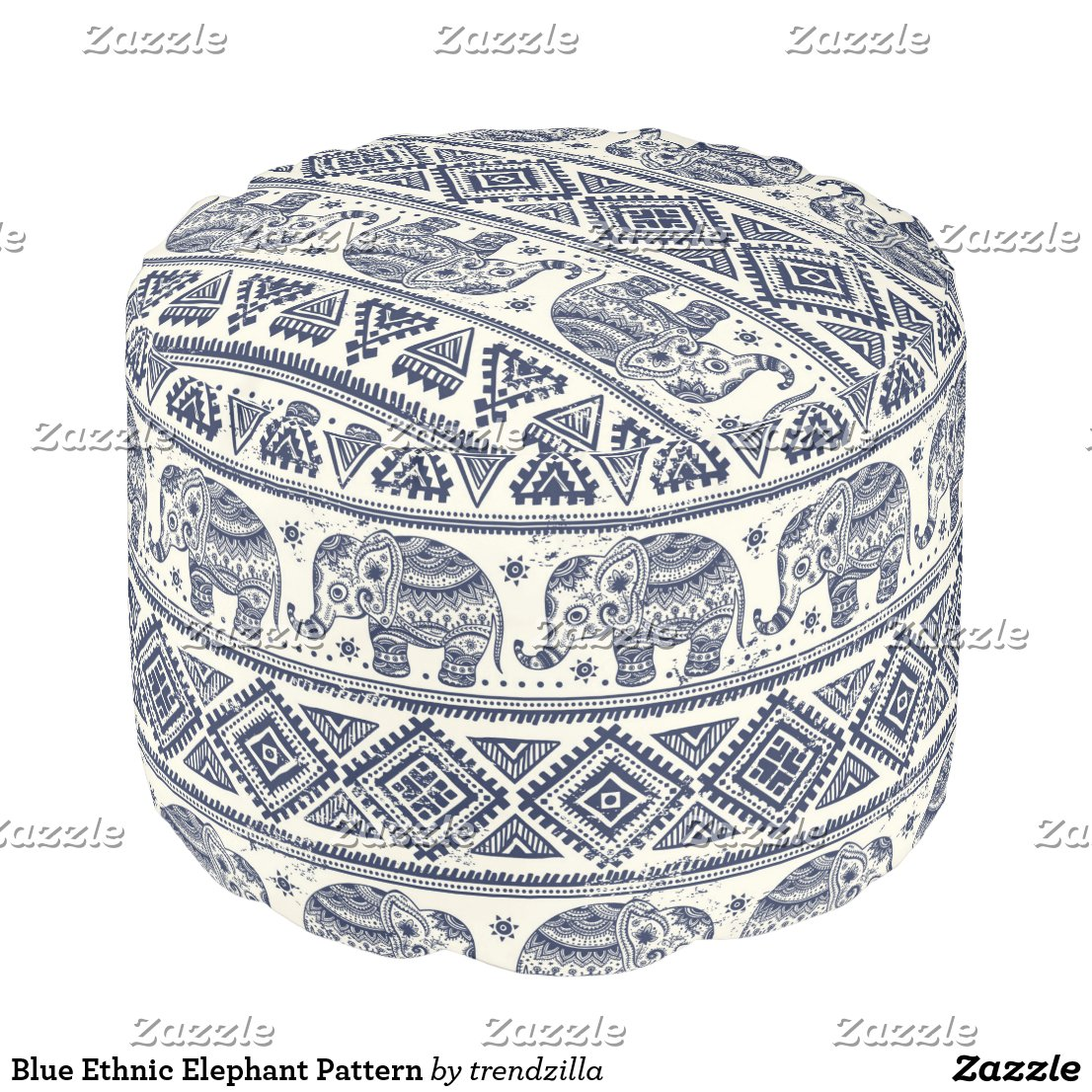 Blue Ethnic Elephant Pattern Pouf