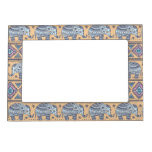 Blue Ethnic Elephant Tribal Pattern Magnetic Picture Frames