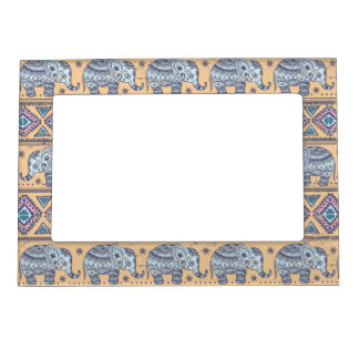 Blue Ethnic Elephant Tribal Pattern Magnetic Frame