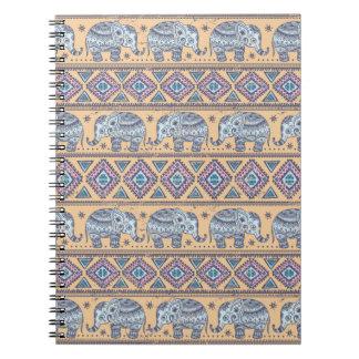 Blue Ethnic Elephant Tribal Pattern Spiral Notebooks