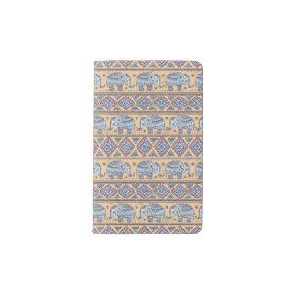 Blue Ethnic Elephant Tribal Pattern Pocket Moleskine Notebook Cover With Notebook
