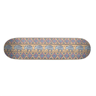 Blue Ethnic Elephant Tribal Pattern Skateboard Deck