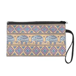 Blue Ethnic Elephant Tribal Pattern Wristlet