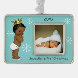 Blue Ethnic Prince Baby 1st Christmas Photo Ornament