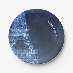 Blue Evening Enchanted Night in Paris Eiffel Tower Paper Plate & Eiffel Tower Plates | Zazzle
