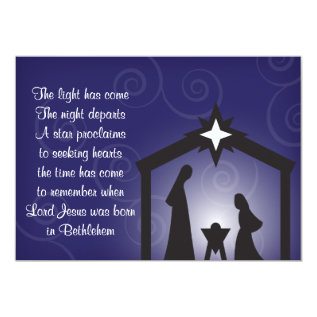 Blue Evening Modern Christmas Nativity Cards at Zazzle