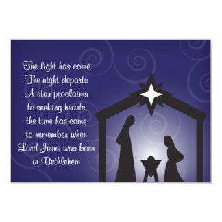 Blue Evening Modern Christmas Nativity Flat Card