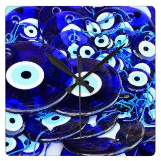 Blue Evil Eye amulets Square Wallclock
