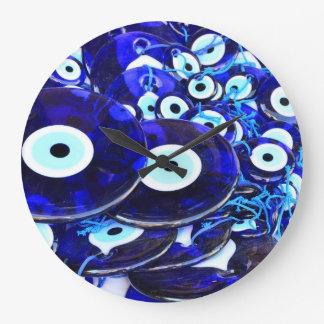 Blue Evil Eye amulets Wallclocks