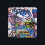 """Blue evil eye modern graffiti checkbook cover<br><div class=""""desc"""">A modern distressed urban spray painted abstract graffiti text on a city wall,  with a blue evil eye and multicolored custom text template. Create your own personal vandalism on this unique grunge street art urban skater style design. Easily personalized by adding  your own name text or tag or  delete.</div>"""