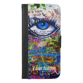 Blue evil eye modern graffiti iPhone 6/6s plus wallet case