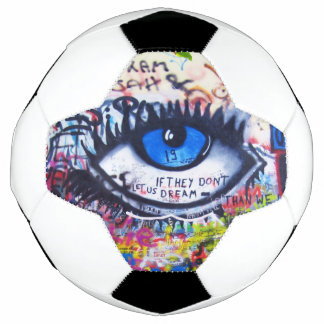 Blue evil eye modern graffiti soccer ball