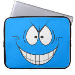 Blue Evil Genius Villain Smiley Face Laptop Sleeve