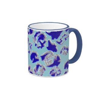Blue examined ringer coffee mug