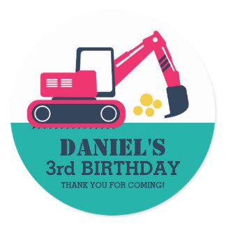 Blue Excavator Children Birthday Party Stickers