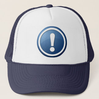 blue exclamation point button trucker hat