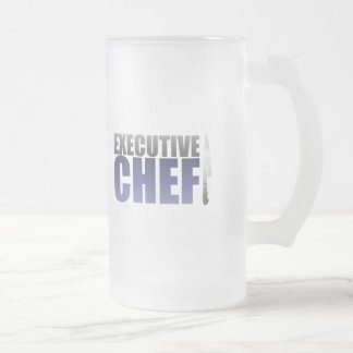 Blue Executive Chef 16 Oz Frosted Glass Beer Mug