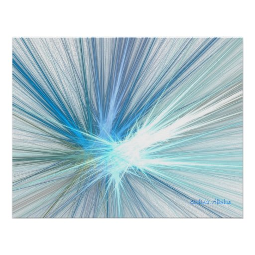 Blue Explosion Room Accent Art Signed by Artist... Print