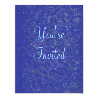 blue explosions, You're, Invited 4.25x5.5 Paper Invitation Card