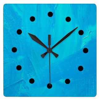 Blue Expressionist Impasto Improv Clock
