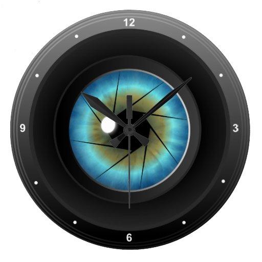Blue Eye Camera Lens Large Round Wall Clock Zazzle