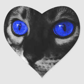 Blue Eye Cat Heart Sticker