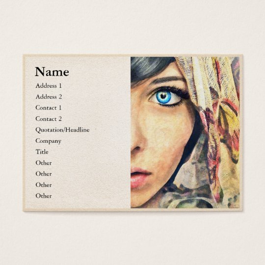 Blue Eye classic watercolor portrait painting b Business Card