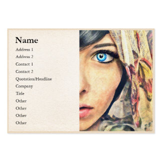 Blue Eye classic watercolor portrait painting b Large Business Card