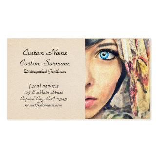 Blue Eye cool classic watercolor portrait painting Business Card