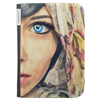 Blue Eye cool classic watercolor portrait painting Kindle Case