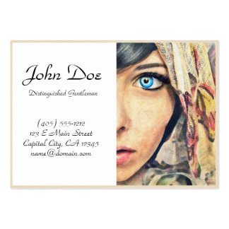 Blue Eye cool classic watercolor portrait painting Large Business Card