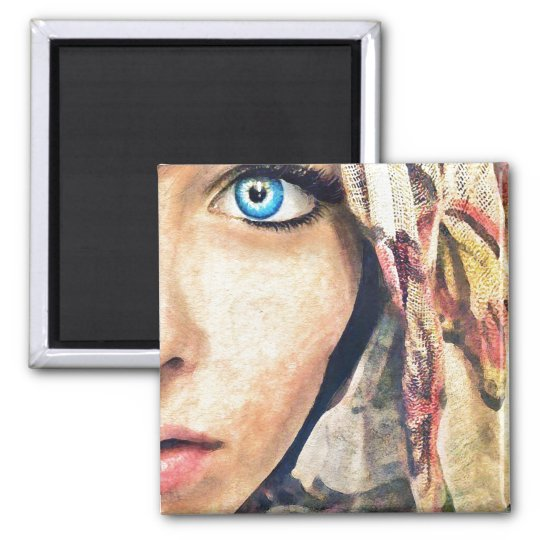Blue Eye cool classic watercolor portrait painting Magnet
