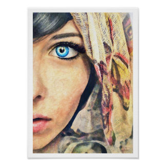 Blue Eye cool classic watercolor portrait painting Poster