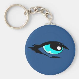 Blue eye design matching jewelry set basic round button keychain