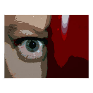Blue eye from behind red bass close up poster