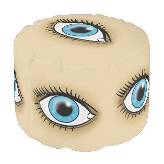 Blue Eye icon Round Pouf
