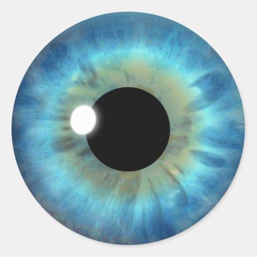 Blue Eye Iris Cool Eyeball Custom Round Stickers Sticker