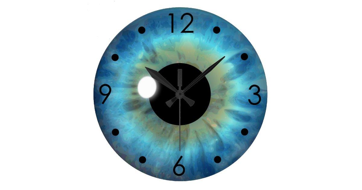 Blue Eye Iris Eyeball Custom Large Round Clock Zazzle Com