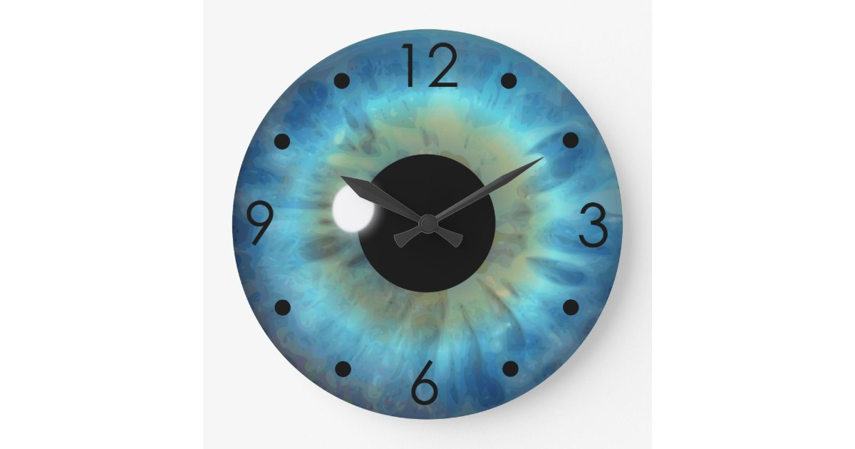 Blue Eye Iris Eyeball Custom Large Round Clock Zazzle Com
