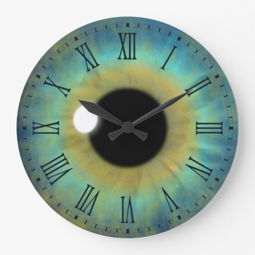 Blue Eye Iris Eyeball Large Round Roman Clock