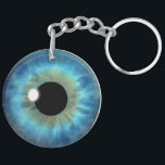 "Blue Eye Iris Round Double Sided Acrylic Keychain<br><div class=""desc"">Blue Eye Iris – BLEI100 &#169; Sunny Mars Designs. Cool, fun custom printed blue eyeball novelty two sided acrylic round keychain or keyring with a trendy, modern, beautiful, unique, freaky, creepy, weird and twisted graphic illustration of a striking big blue realistic eyeball iris of an eye. Other color eyeball designs...</div>"