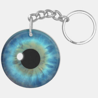 Blue Eye Iris Round Double Sided Acrylic Keychain