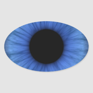 blue eye is cute oval sticker