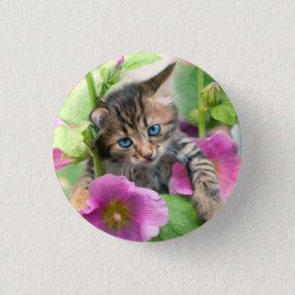 Blue Eye Kitten and Flower Photo Pinback Button