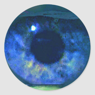 Blue Eye Looking Through A Fishbowl Classic Round Sticker